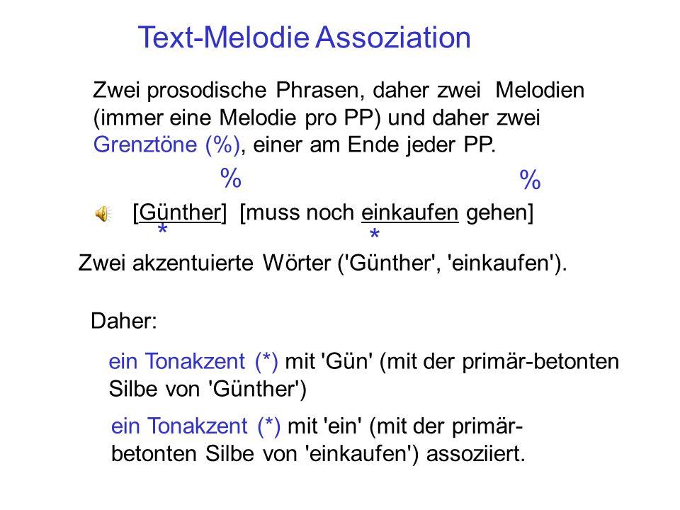 Bestandteile einer Melodie Jede Melodie besteht aus: einem Tonakzent pro akzentuiertes Wort. Der Tonakzent wird mit dessen primär- betonten Silbe asso