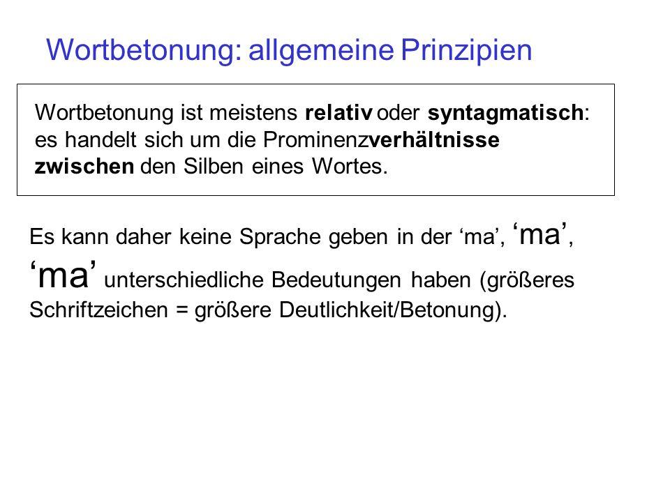 Wortbetonung – allgemeine Prinzipien In fast allen Sprachen werden die Silben in mehrsilbigen Wörtern mit einer unterschiedlichen Deutlichkeit oder Pr