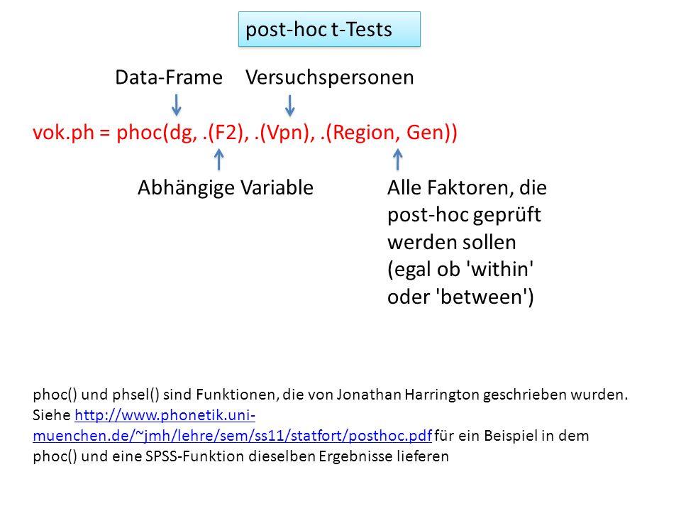 vok.ph = phoc(dg,.(F2),.(Vpn),.(Region, Gen)) Data-FrameVersuchspersonen Abhängige VariableAlle Faktoren, die post-hoc geprüft werden sollen (egal ob