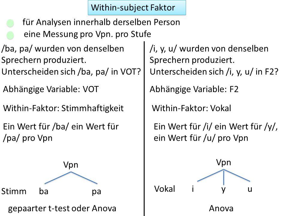 Zwei Faktoren table(dg$Gen, dg$Region) F2 Region Gen Vpn A B C m 10 10 10 w 10 10 10 F2 Daten, 60 Sprecher, 30 m, 30 w, drei Dialekte: es gibt einen Wert pro Sprecher.