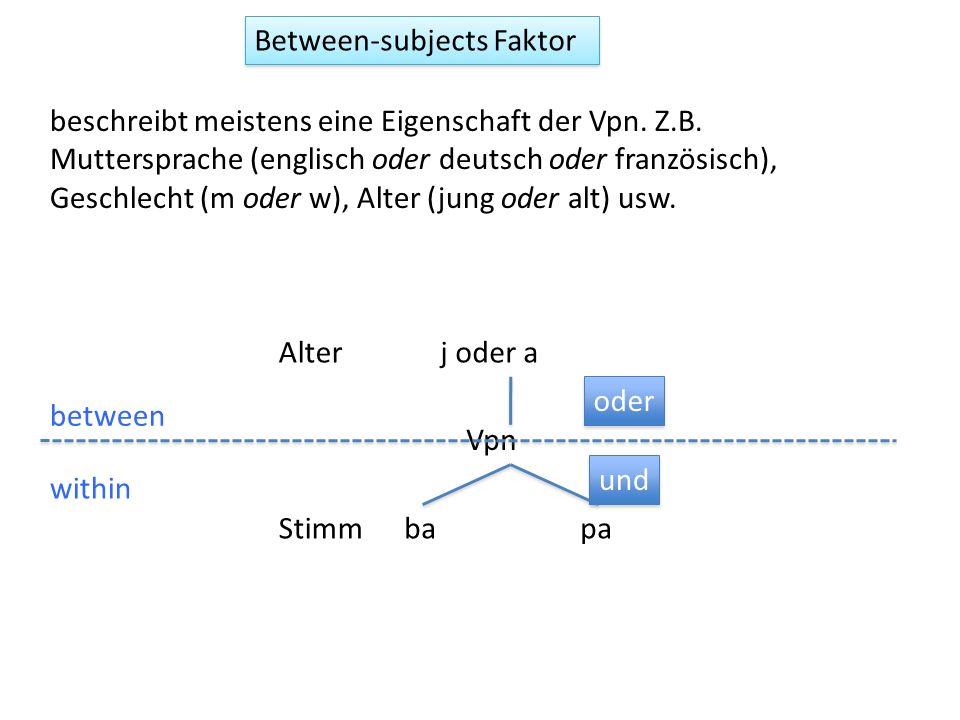 Between-subjects Faktor beschreibt meistens eine Eigenschaft der Vpn. Z.B. Muttersprache (englisch oder deutsch oder französisch), Geschlecht (m oder