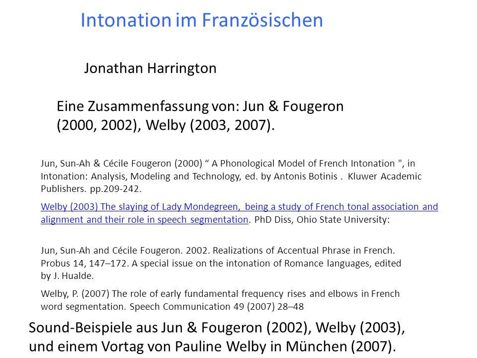 L 2 H 2 (L 2 H*) kommt doch (selten) vor, (e) kam nicht vor Variabilität in der Realisierung LHLH einer AP a a b b c c d d f f Korpusanalyse gelesener Sprache von 7 Frauen (Paris) in Welby (2003).