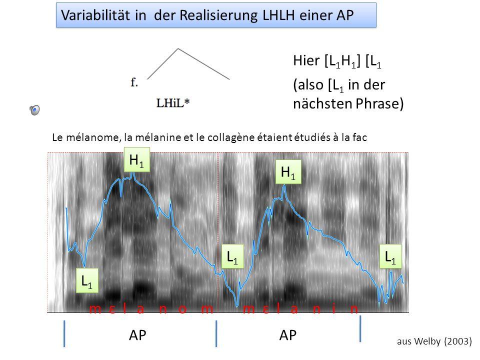 la limonade AP aus Welby (2003) La grenadine, la limonade et lOrangina ont été versés par Anna. L1L1 L1L1 H1H1 H1H1 H* Variabilität in der Realisierun