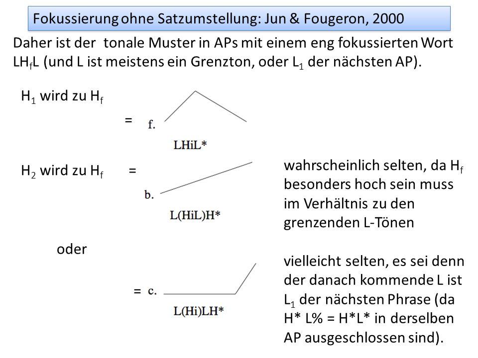 Unterschiede zu deutsch/englisch Wenn im Französischen ohne Clefting fokussiert wird Sehr oft wird die AP nach dem fokussierten Wort in 2 Phrasen zerl