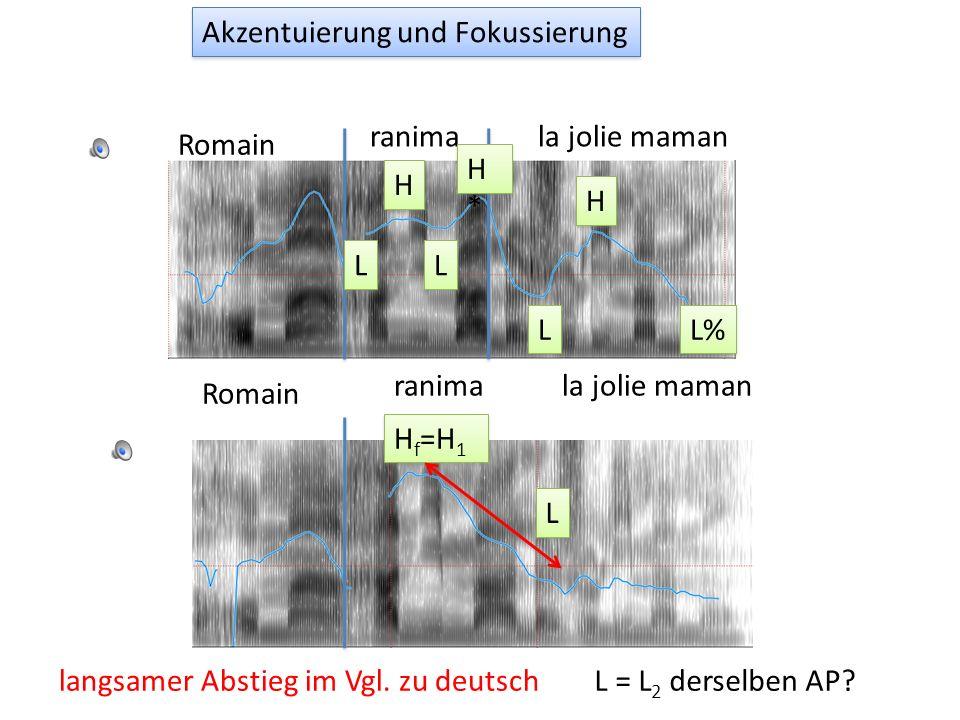 Fokussierung ohne Satzumstellung: Jun & Fougeron, 2000 Daher ist der tonale Muster in APs mit einem eng fokussierten Wort LH f L (und L ist meistens e