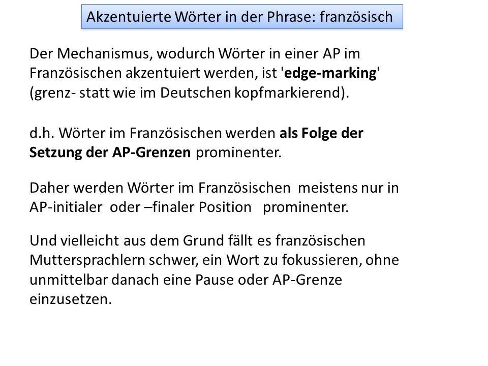 Der Mechanismus, wodurch deutsche Wörter in einer ip akzentuiert werden, ist 'head-marking' oder kumulativ. Head: Der 'Kopf' eines Konstituenten ist d