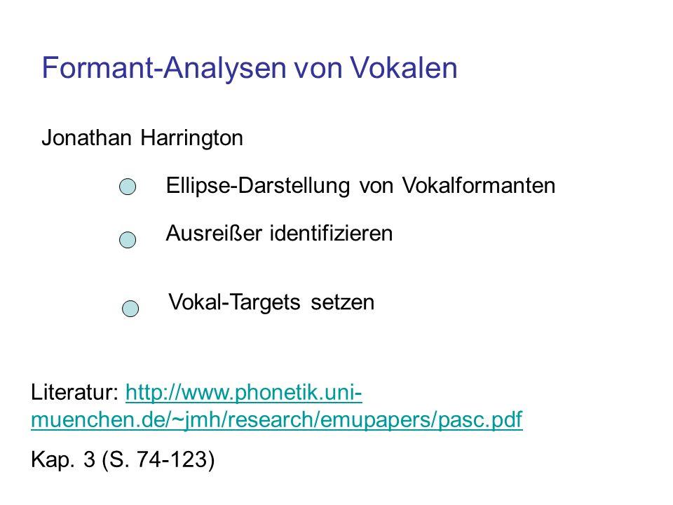 Formant-Analysen von Vokalen Jonathan Harrington Ellipse-Darstellung von Vokalformanten Ausreißer identifizieren Vokal-Targets setzen Literatur: http: