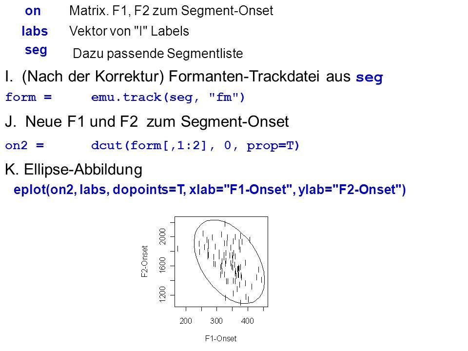 I. (Nach der Korrektur) Formanten-Trackdatei aus seg form =emu.track(seg,