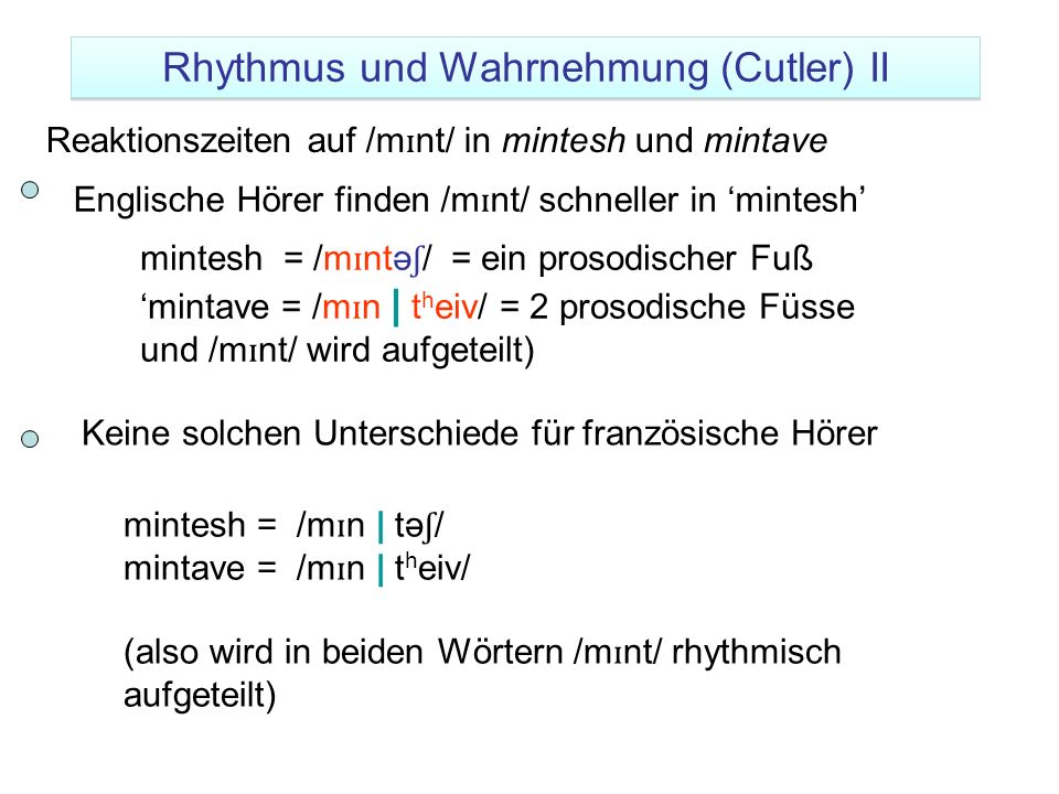 mintesh = /m ɪ ntə ʃ / = ein prosodischer Fuß mintave = /m ɪ n | t h eiv/ = 2 prosodische Füsse und /m ɪ nt/ wird aufgeteilt) Reaktionszeiten auf /m ɪ