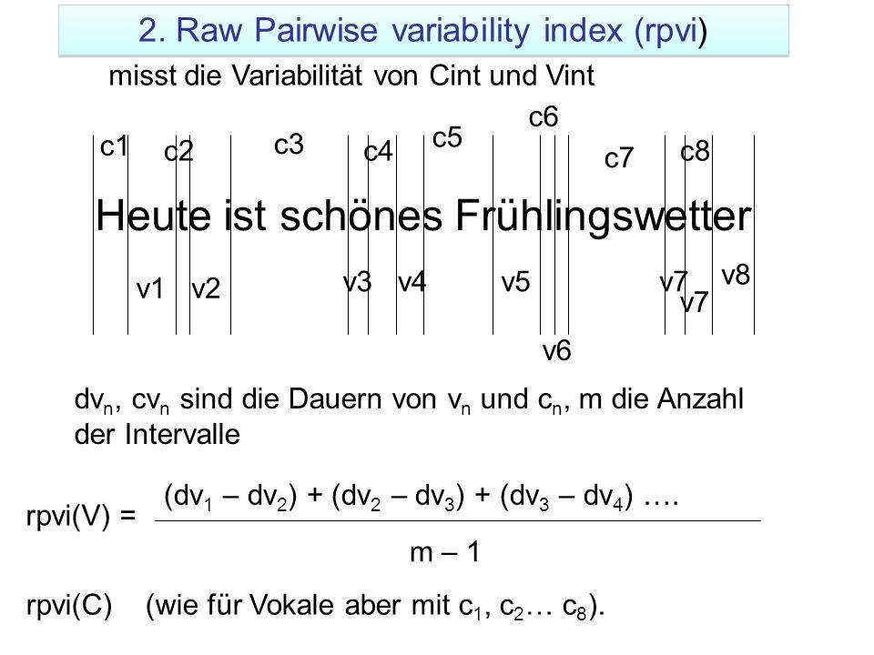Heute ist schönes Frühlingswetter v1v2 v3v4v5 v6 v7 v8 (dv 1 – dv 2 ) + (dv 2 – dv 3 ) + (dv 3 – dv 4 ) …. m – 1 v7 rpvi(V) = c1 c2 c3 c4 c5 c6 c7 c8