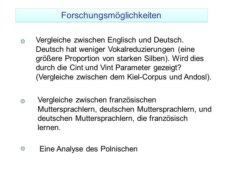 Vergleiche zwischen Englisch und Deutsch. Deutsch hat weniger Vokalreduzierungen (eine größere Proportion von starken Silben). Wird dies durch die Cin