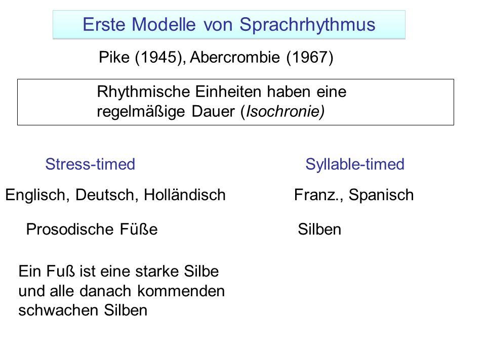 Pike (1945), Abercrombie (1967) Ein Fuß ist eine starke Silbe und alle danach kommenden schwachen Silben Rhythmische Einheiten haben eine regelmäßige
