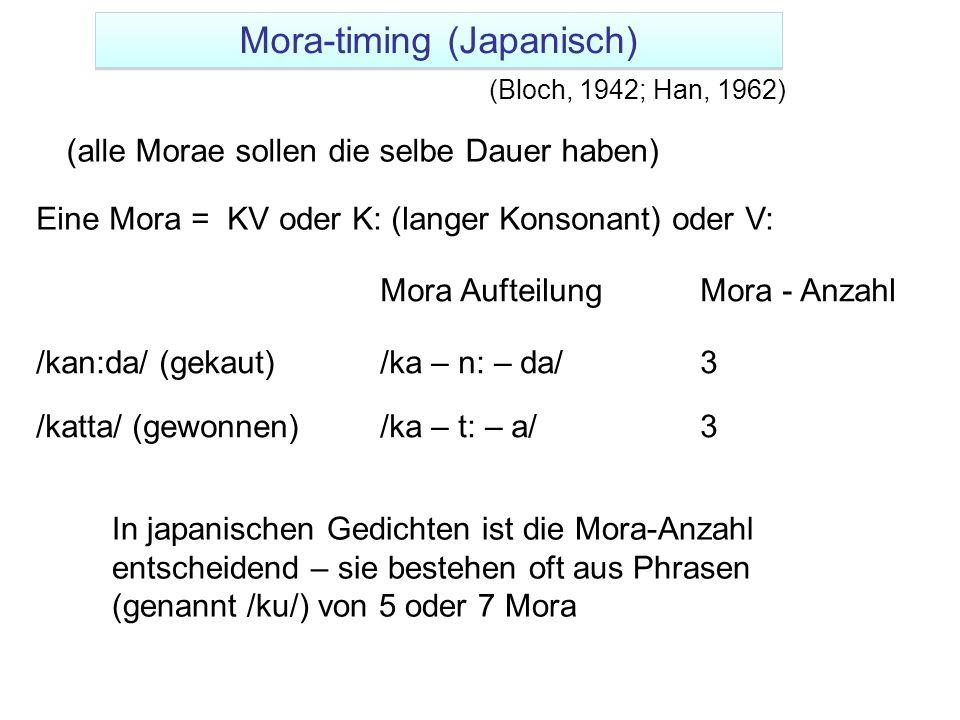 Eine Mora = KV oder K: (langer Konsonant) oder V: Mora - Anzahl /kan:da/ (gekaut)/ka – n: – da/3 /katta/ (gewonnen)/ka – t: – a/3 Mora Aufteilung In j
