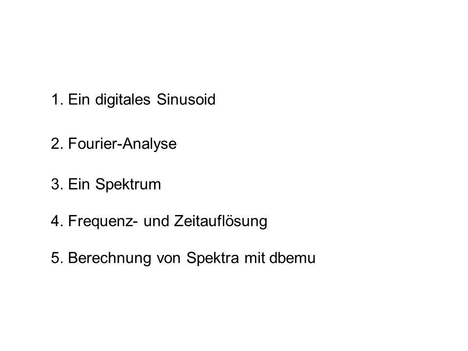 1. Ein digitales Sinusoid 2. Fourier-Analyse 5. Berechnung von Spektra mit dbemu 3. Ein Spektrum 4. Frequenz- und Zeitauflösung