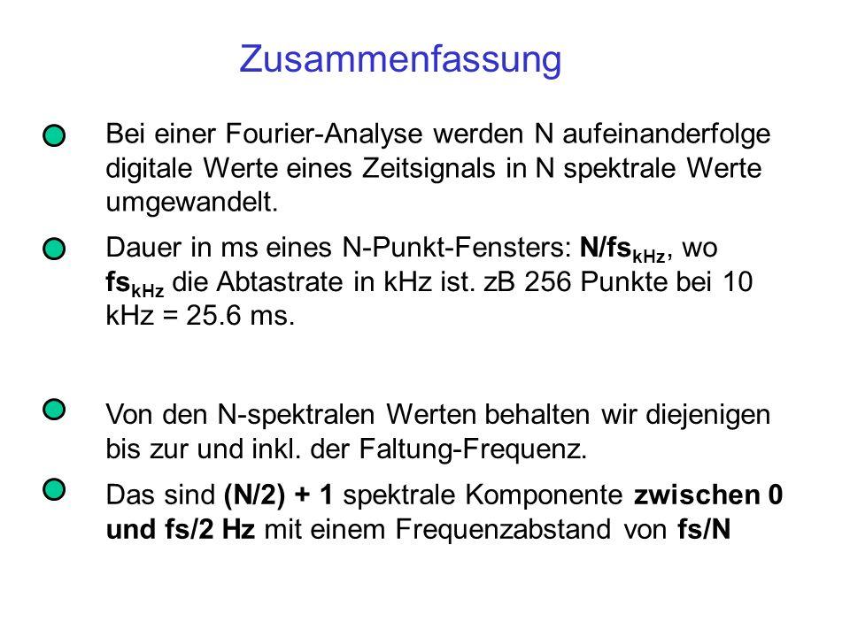 Zusammenfassung Dauer in ms eines N-Punkt-Fensters: N/fs kHz, wo fs kHz die Abtastrate in kHz ist. zB 256 Punkte bei 10 kHz = 25.6 ms. Von den N-spekt