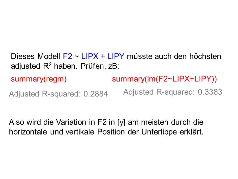 Dieses Modell F2 ~ LIPX + LIPY müsste auch den höchsten adjusted R 2 haben. Prüfen, zB: summary(regm)summary(lm(F2~LIPX+LIPY)) Adjusted R-squared: 0.3