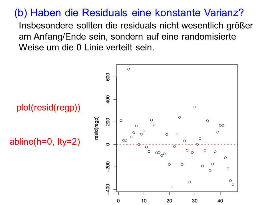 (b) Haben die Residuals eine konstante Varianz? Insbesondere sollten die residuals nicht wesentlich größer am Anfang/Ende sein, sondern auf eine rando