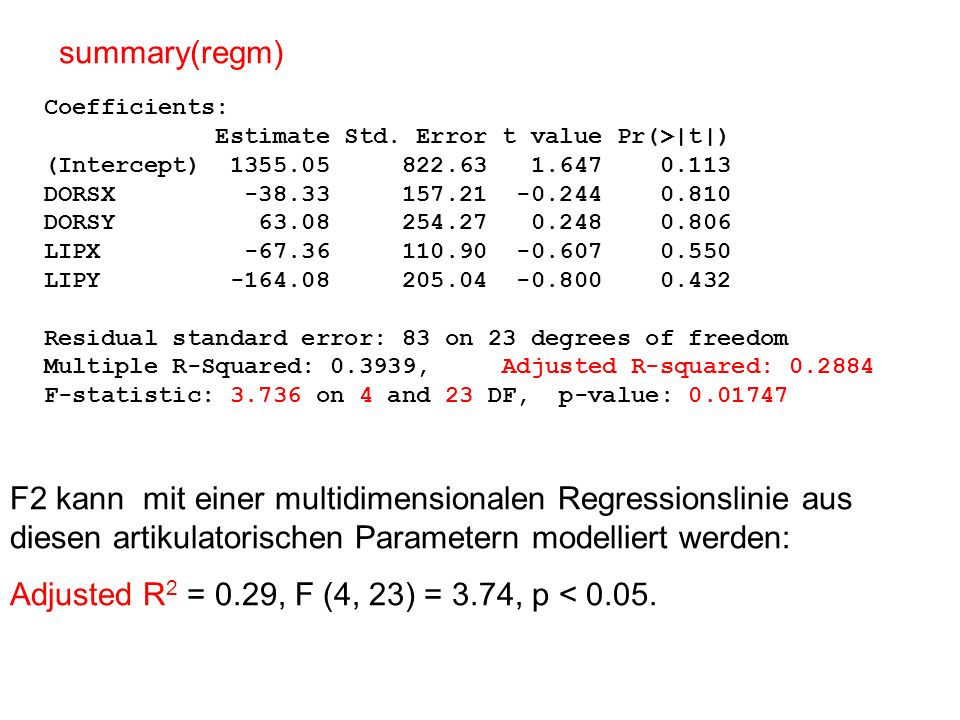 Adjusted R 2 R 2 : (siehe vorige Vorlesung) ist die Proportion der Varianz, die durch die Regressionslinie erklärt werden kann (variiert zwischen 0 und 1; 1 bedeutet alle Werte liegen auf der Linie) Daher muss in der Berechnung von R 2 für die Anzahl der Regressoren kompensiert werden, wenn wir - wie in diesem Fall – Regressionslinien mit unterschiedlichen Anzahlen von Regressoren miteinander vergleichen wollen.