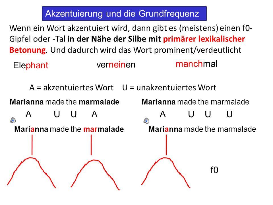 Linguistische Einflüsse auf f0: Akzentuierung Die Akzentuierung ist beweglich und hängt vom semantischen Kontext ab… In deutsch und in germanischen Sprachen kann dieselbe Äußerung mit unterschiedlichen Akzentuierungsmustern produziert werden.