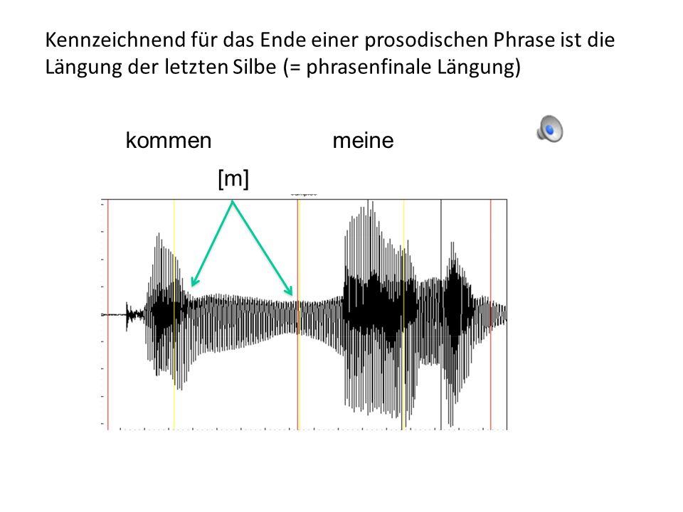 Linguistische Einflüsse auf f0: prosodische Phrasen Die selbe Äußerung kann in unterschiedliche prosodische Phrasen aufgeteilt werden.