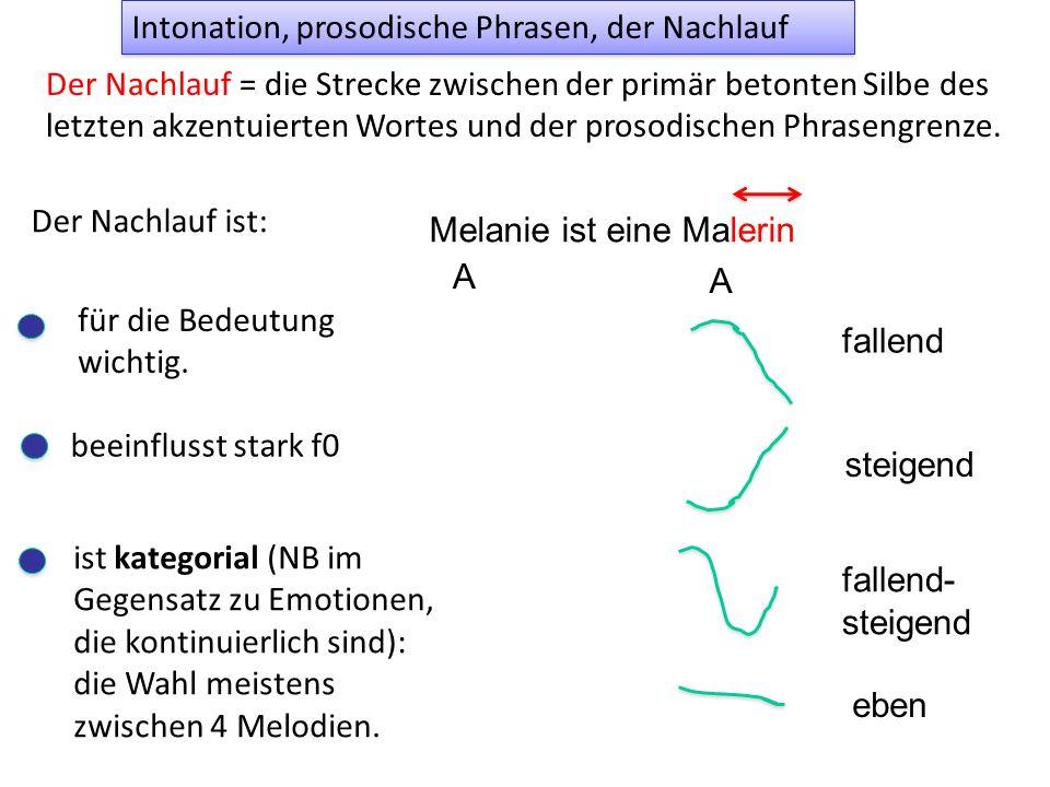 Kennzeichnend für das Ende einer prosodischen Phrase ist die Längung der letzten Silbe (= phrasenfinale Längung) kommen meine [m]