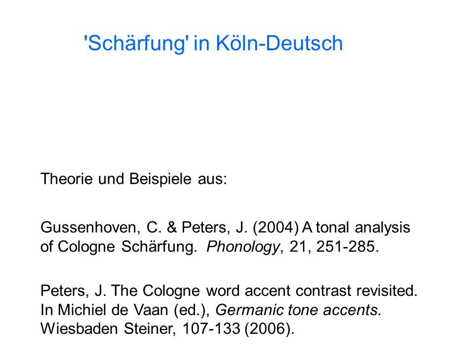 Schärfung in Köln-Deutsch Theorie und Beispiele aus: Gussenhoven, C.