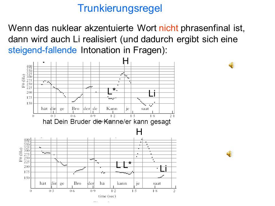 Fallende Intonation (Aussage): Köln-Deutsch dat Klein es lus H*L Lido wor ein Luus H*L Li T H H* L L* es dat Klein lus? L*H (Li) es do ein Luus? T L*H