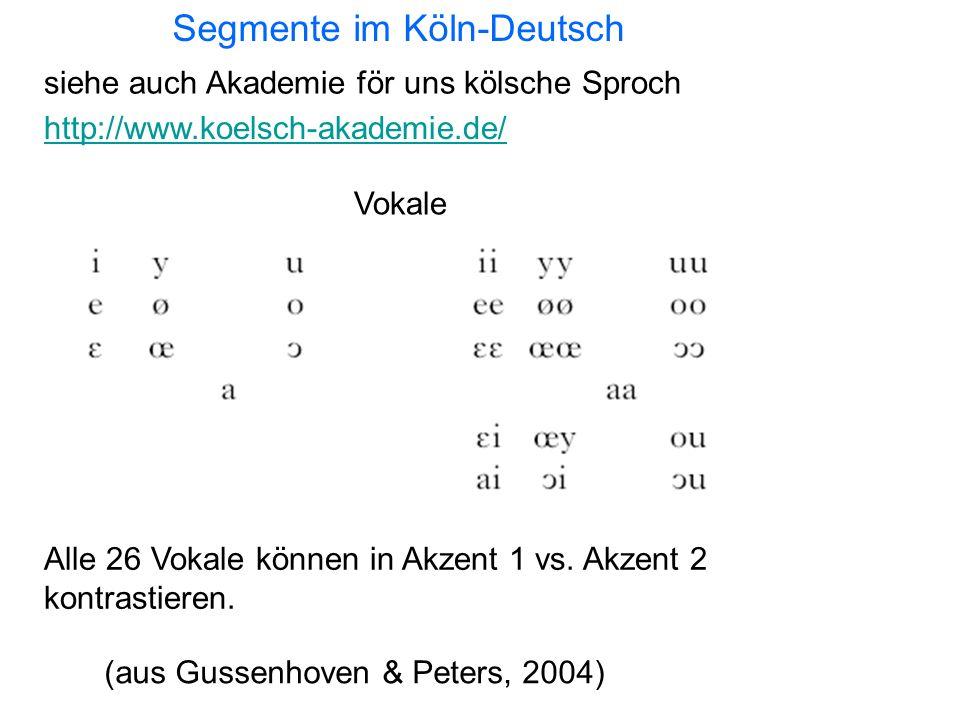 Segmente im Köln-Deutsch Vokale (aus Gussenhoven & Peters, 2004) siehe auch Akademie för uns kölsche Sproch http://www.koelsch-akademie.de/ Alle 26 Vokale können in Akzent 1 vs.