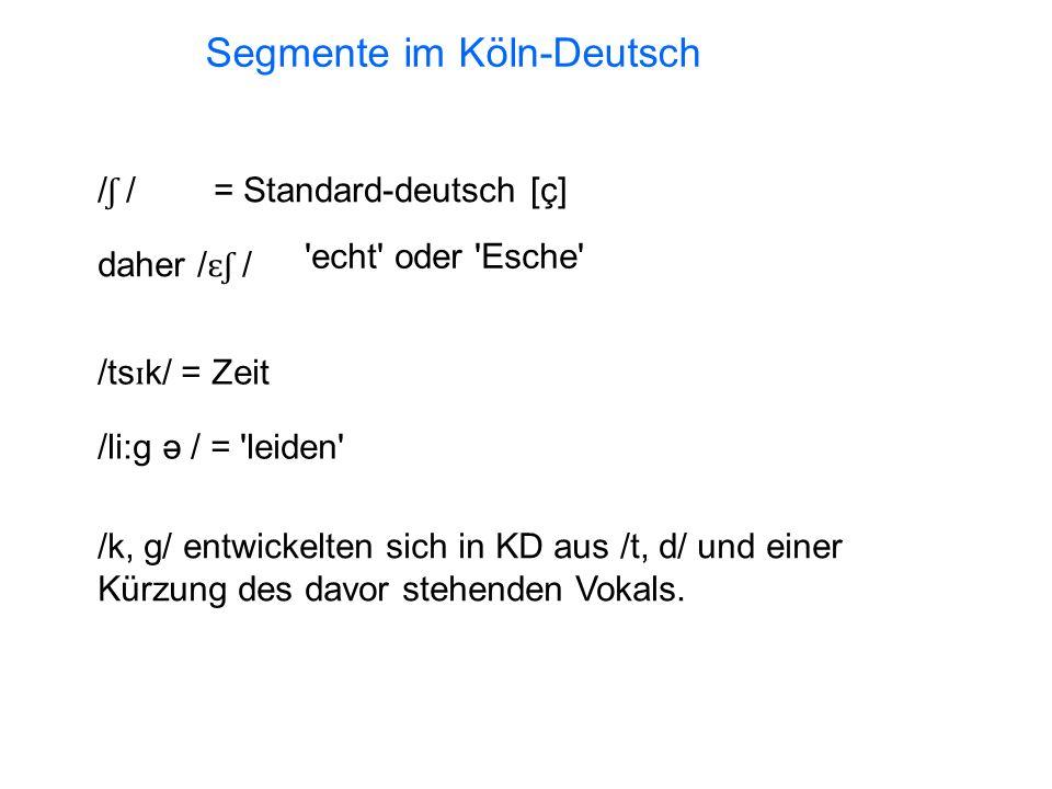 / ʃ / = Standard-deutsch [ç] daher / ɛʃ / echt oder Esche /ts ɪ k/ = Zeit /li:g ə / = leiden /k, g/ entwickelten sich in KD aus /t, d/ und einer Kürzung des davor stehenden Vokals.