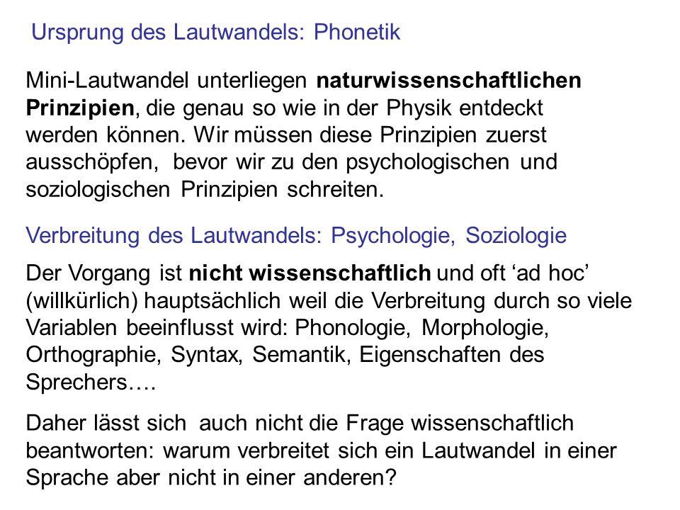 Ursprung des Lautwandels: Phonetik Verbreitung des Lautwandels: Psychologie, Soziologie Mini-Lautwandel unterliegen naturwissenschaftlichen Prinzipien
