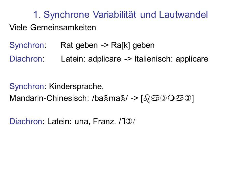 1. Synchrone Variabilität und Lautwandel Viele Gemeinsamkeiten Synchron:Rat geben -> Ra[k] geben Diachron: Latein: adplicare -> Italienisch: applicare