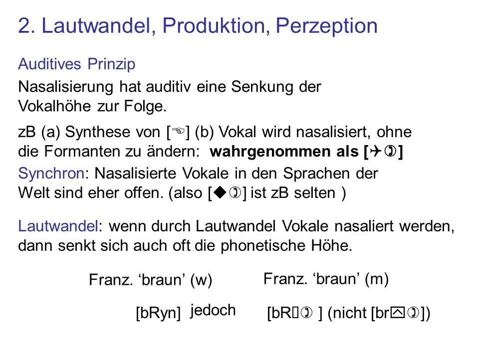 Nasalisierung hat auditiv eine Senkung der Vokalhöhe zur Folge. zB (a) Synthese von [E] (b) Vokal wird nasalisiert, ohne die Formanten zu ändern: wahr