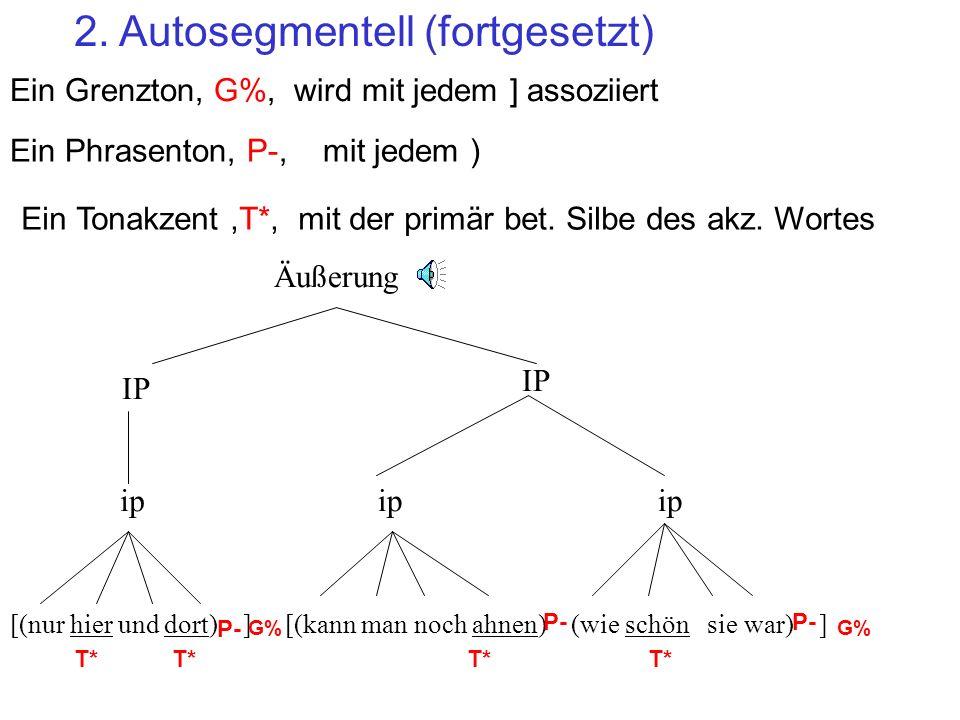 2. Autosegmentell (fortgesetzt) Im AM-Modell gibt es 3 Sorten von Tönen, die mit unterschiedlichen Ebenen der prosodischen Hierarchie assoziiert werde