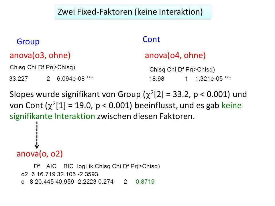 Zwei Fixed-Faktoren (keine Interaktion) anova(o3, ohne) Slopes wurde signifikant von Group ( 2 [2] = 33.2, p < 0.001) und von Cont ( 2 [1] = 19.0, p <