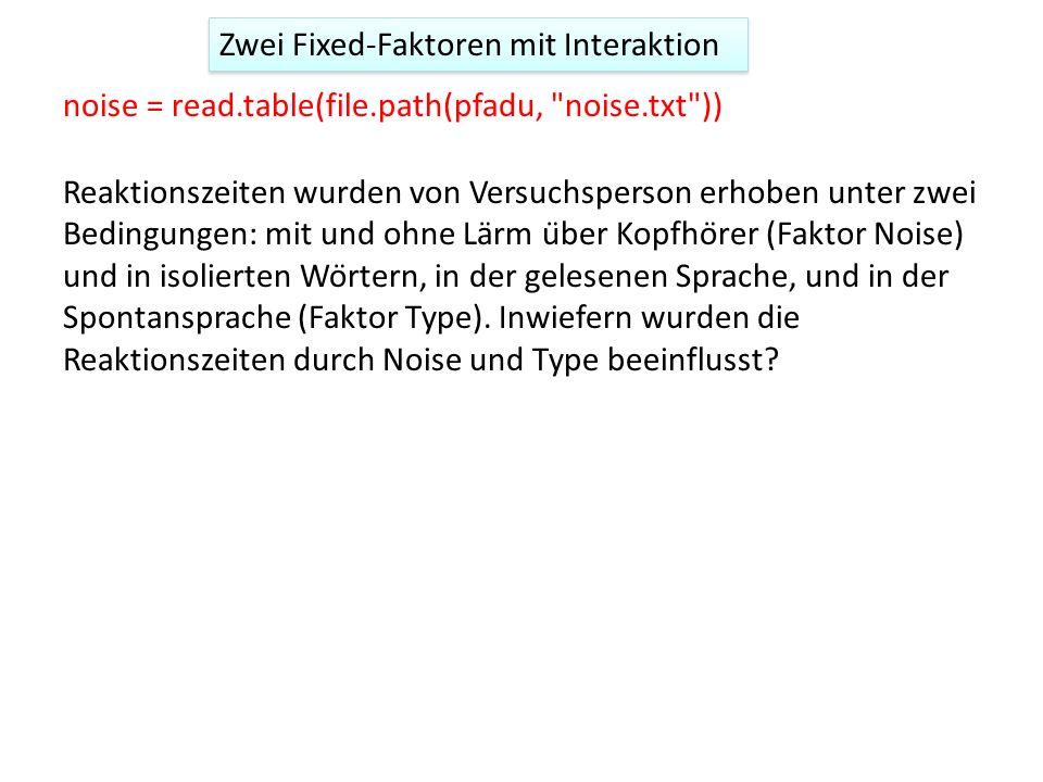 Zwei Fixed-Faktoren mit Interaktion noise = read.table(file.path(pfadu,