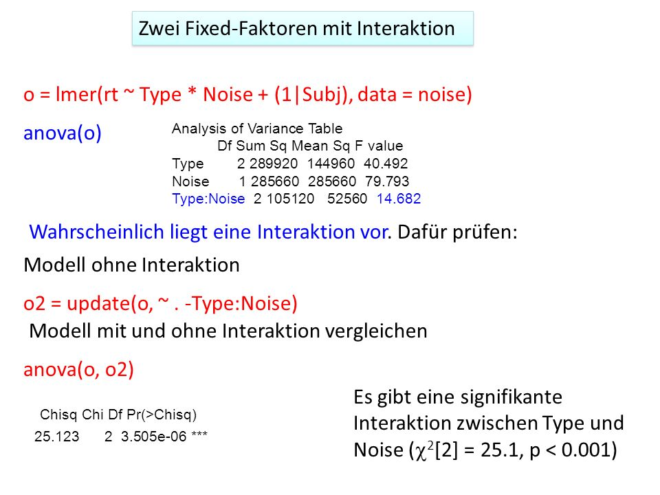 o = lmer(rt ~ Type * Noise + (1|Subj), data = noise) o2 = update(o, ~. -Type:Noise) anova(o) Analysis of Variance Table Df Sum Sq Mean Sq F value Type