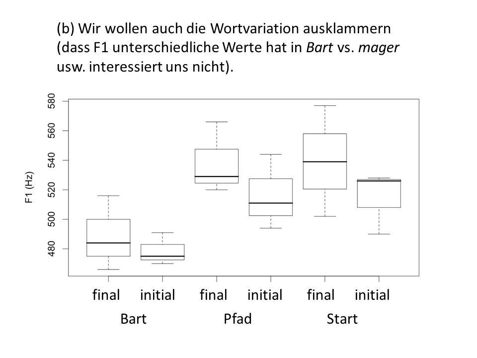(b) Wir wollen auch die Wortvariation ausklammern (dass F1 unterschiedliche Werte hat in Bart vs. mager usw. interessiert uns nicht). finalinitialfina