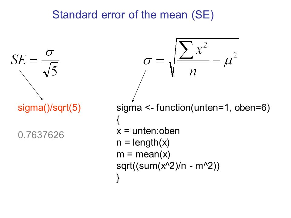 Eine R-Funktion schreiben, SE2(x,y), um zu berechnen.