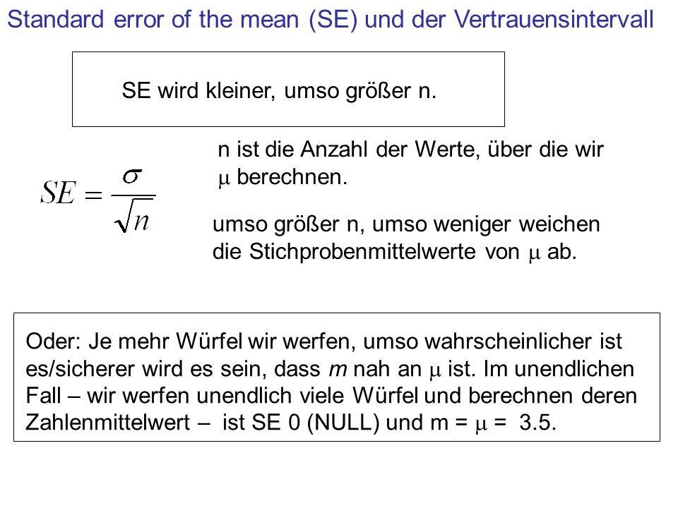 Standard error of the mean (SE) und der Vertrauensintervall SE wird kleiner, umso größer n. n ist die Anzahl der Werte, über die wir berechnen. umso g