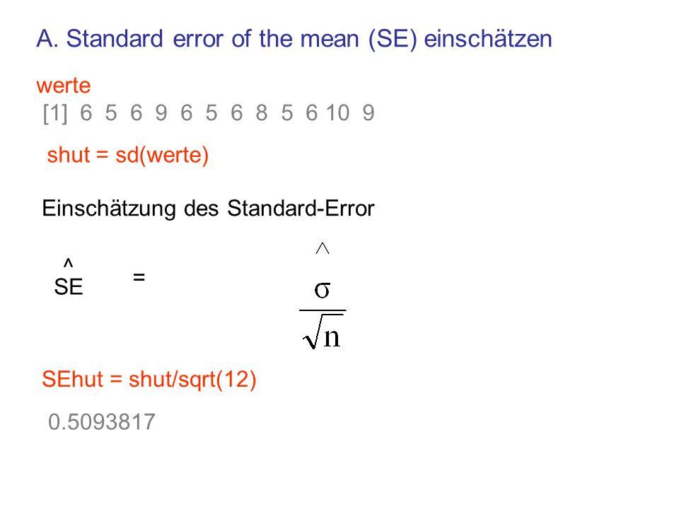 SE ^ = SEhut = shut/sqrt(12) 0.5093817 werte [1] 6 5 6 9 6 5 6 8 5 6 10 9 shut = sd(werte) Einschätzung des Standard-Error A. Standard error of the me