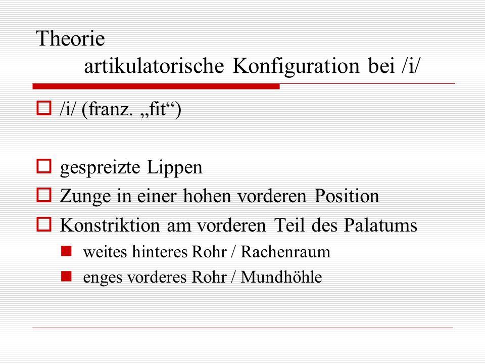 Theorie artikulatorische Konfiguration bei /i/ /i/ (franz. fit) gespreizte Lippen Zunge in einer hohen vorderen Position Konstriktion am vorderen Teil