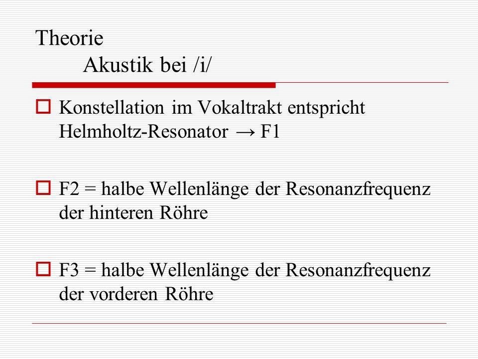 Theorie Akustik bei /i/ Konstellation im Vokaltrakt entspricht Helmholtz-Resonator F1 F2 = halbe Wellenlänge der Resonanzfrequenz der hinteren Röhre F