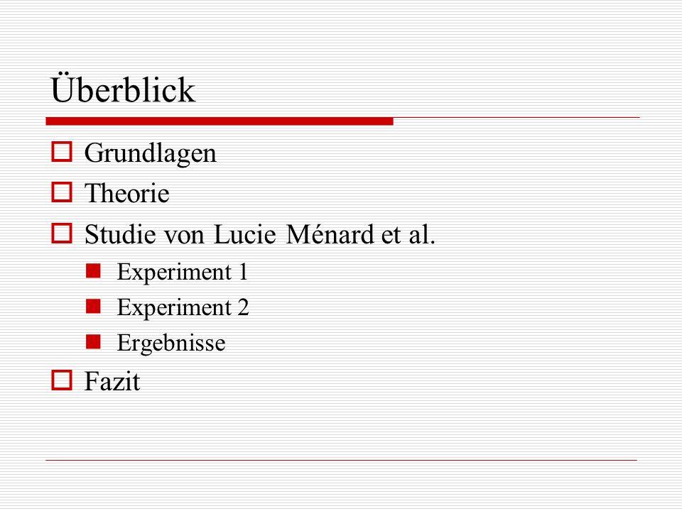 Überblick Grundlagen Theorie Studie von Lucie Ménard et al. Experiment 1 Experiment 2 Ergebnisse Fazit