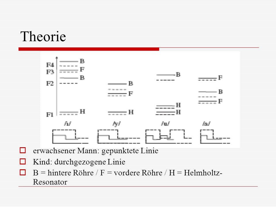 Theorie erwachsener Mann: gepunktete Linie Kind: durchgezogene Linie B = hintere Röhre / F = vordere Röhre / H = Helmholtz- Resonator