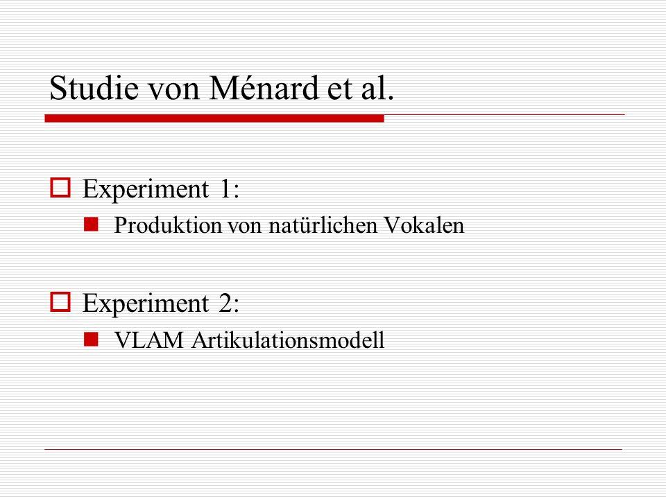 Studie von Ménard et al. Experiment 1: Produktion von natürlichen Vokalen Experiment 2: VLAM Artikulationsmodell