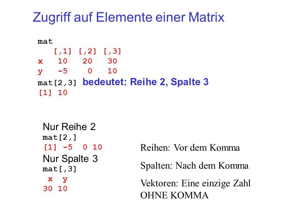 Zugriff auf Elemente einer Matrix mat [,1] [,2] [,3] x 10 20 30 y -5 0 10 mat[2,3] bedeutet: Reihe 2, Spalte 3 [1] 10 Nur Reihe 2 mat[2,] [1] -5 0 10