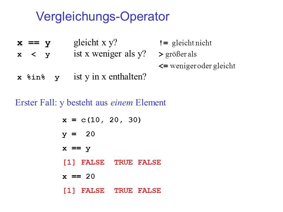 Vergleichungs-Operator x == y gleicht x y? != gleicht nicht x größer als <= weniger oder gleicht x %in% y ist y in x enthalten? x = c(10, 20, 30) y =
