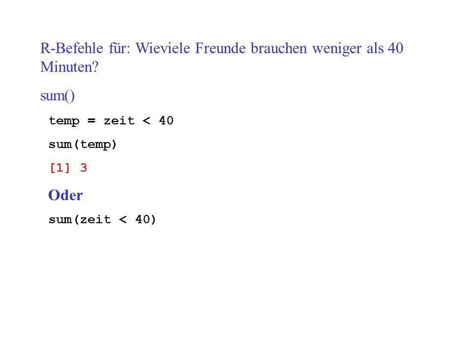 R-Befehle für: Wieviele Freunde brauchen weniger als 40 Minuten? sum() temp = zeit < 40 sum(temp) [1] 3 Oder sum(zeit < 40)