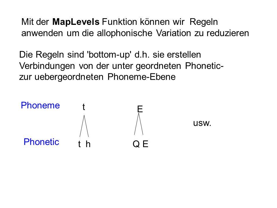 Mit der MapLevels Funktion können wir Regeln anwenden um die allophonische Variation zu reduzieren Die Regeln sind 'bottom-up' d.h. sie erstellen Verb