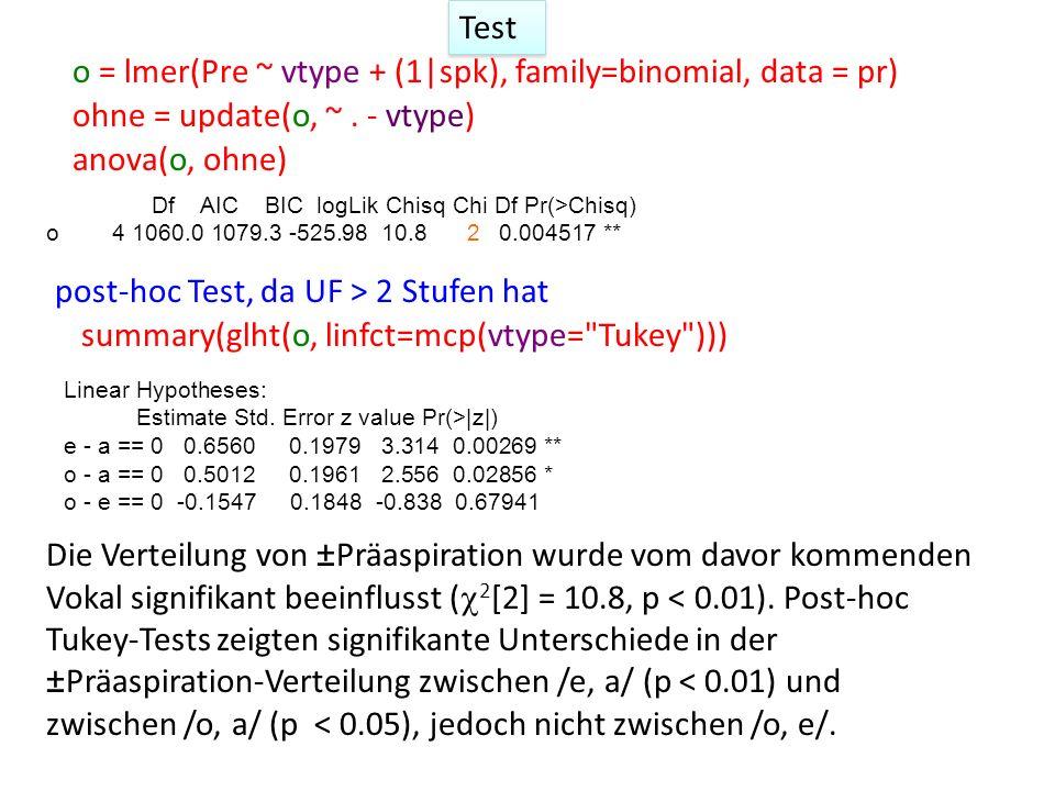Test o = lmer(Pre ~ vtype + (1|spk), family=binomial, data = pr) ohne = update(o, ~.